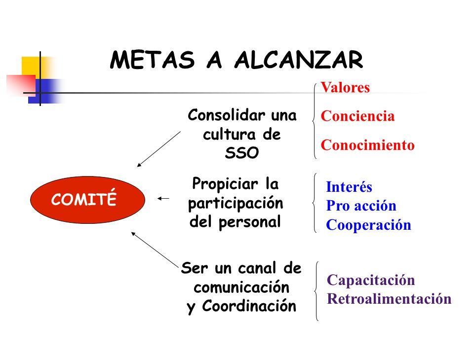 METAS A ALCANZAR COMITÉ Consolidar una cultura de SSO Propiciar la participación del personal Ser un canal de comunicación y Coordinación Valores Conc