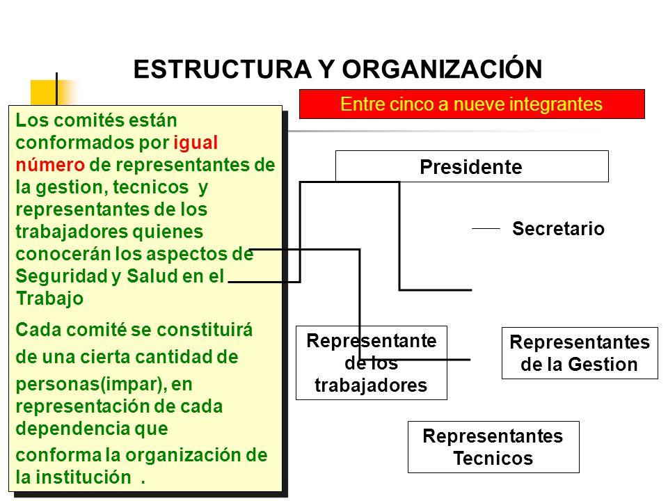 ESTRUCTURA Y ORGANIZACIÓN Los comités están conformados por igual número de representantes de la gestion, tecnicos y representantes de los trabajadore