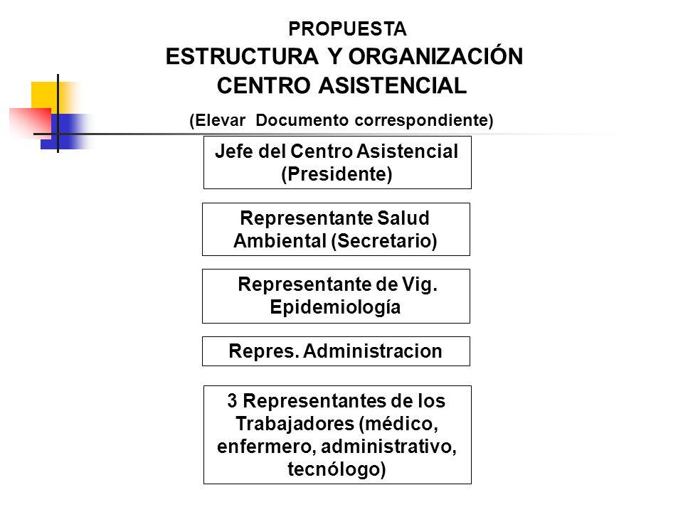 PROPUESTA ESTRUCTURA Y ORGANIZACIÓN CENTRO ASISTENCIAL (Elevar Documento correspondiente) Jefe del Centro Asistencial (Presidente) Repres. Administrac