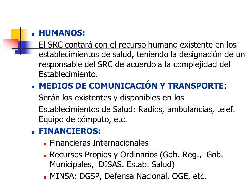HUMANOS: El SRC contará con el recurso humano existente en los establecimientos de salud, teniendo la designación de un responsable del SRC de acuerdo