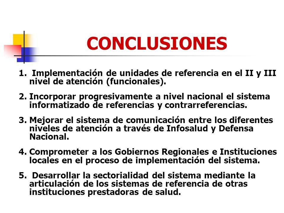 CONCLUSIONES 1. Implementación de unidades de referencia en el II y III nivel de atención (funcionales). 2. Incorporar progresivamente a nivel naciona