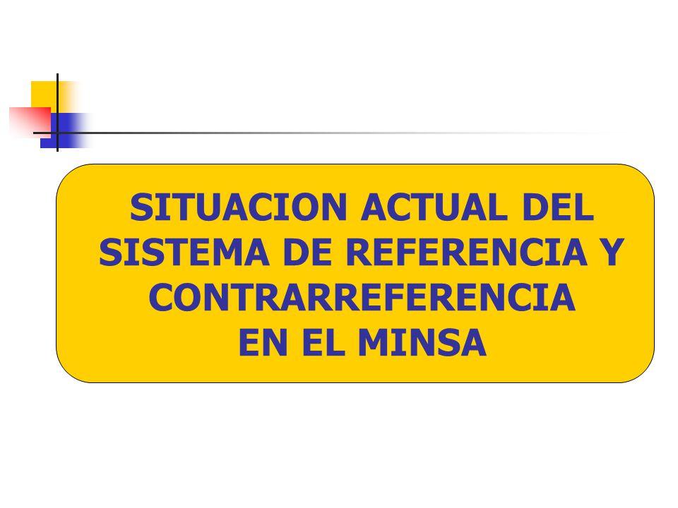 ORGANIZACION El nivel Nacional MINSA, ha tenido un rol muy pasivo en la conducción del SRC.