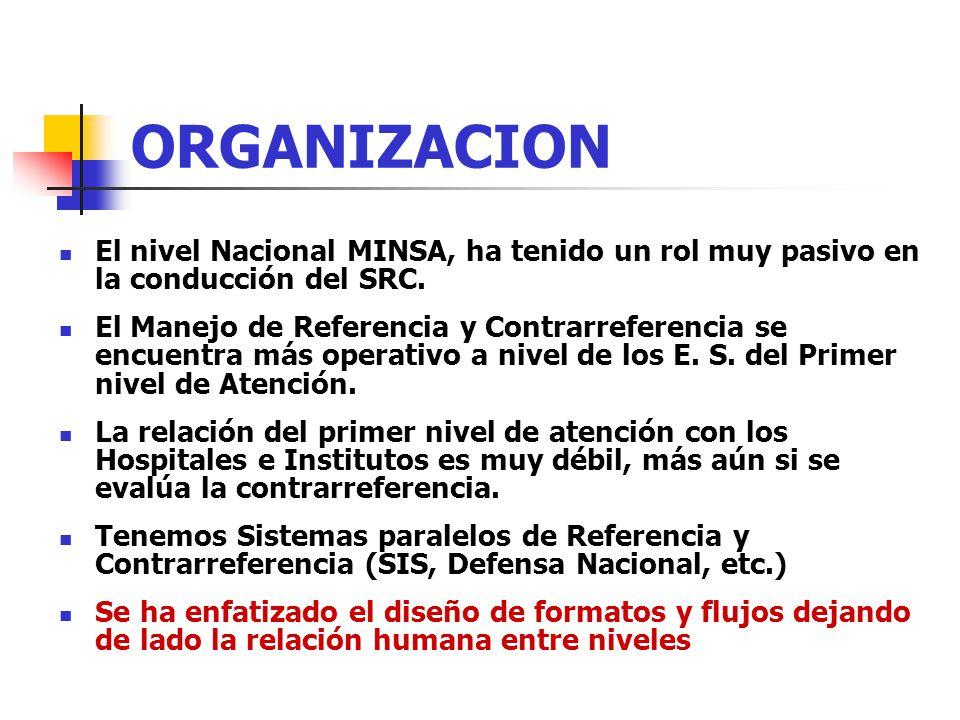 ORGANIZACION El nivel Nacional MINSA, ha tenido un rol muy pasivo en la conducción del SRC. El Manejo de Referencia y Contrarreferencia se encuentra m