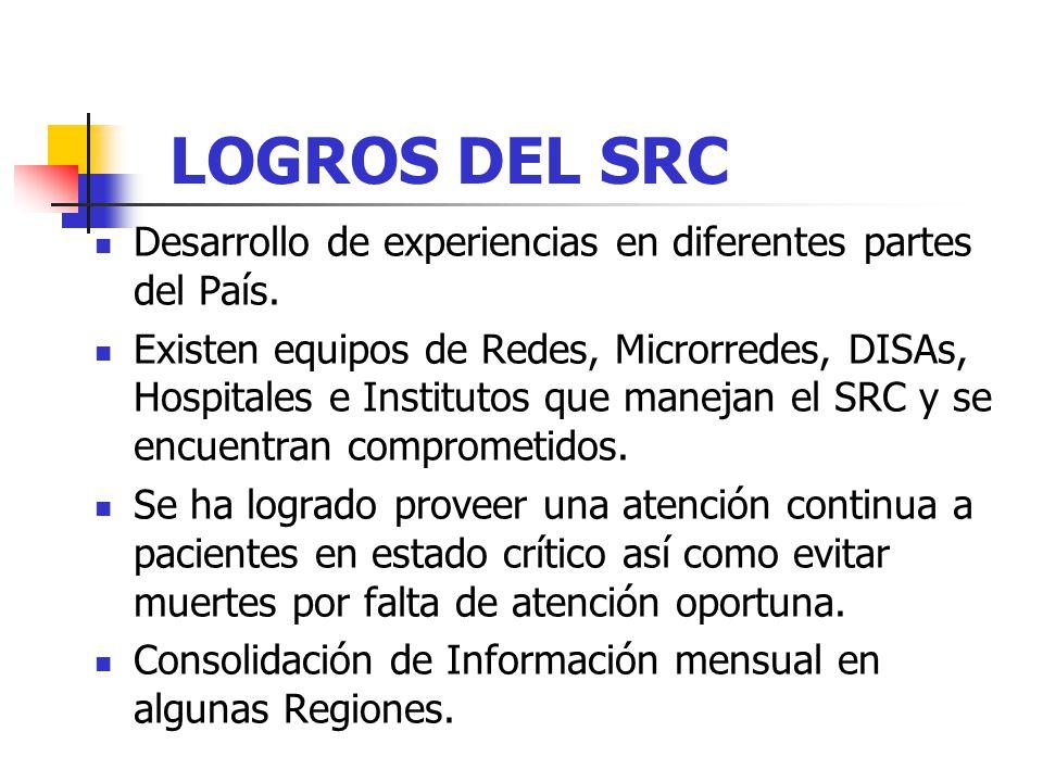 LOGROS DEL SRC Desarrollo de experiencias en diferentes partes del País. Existen equipos de Redes, Microrredes, DISAs, Hospitales e Institutos que man