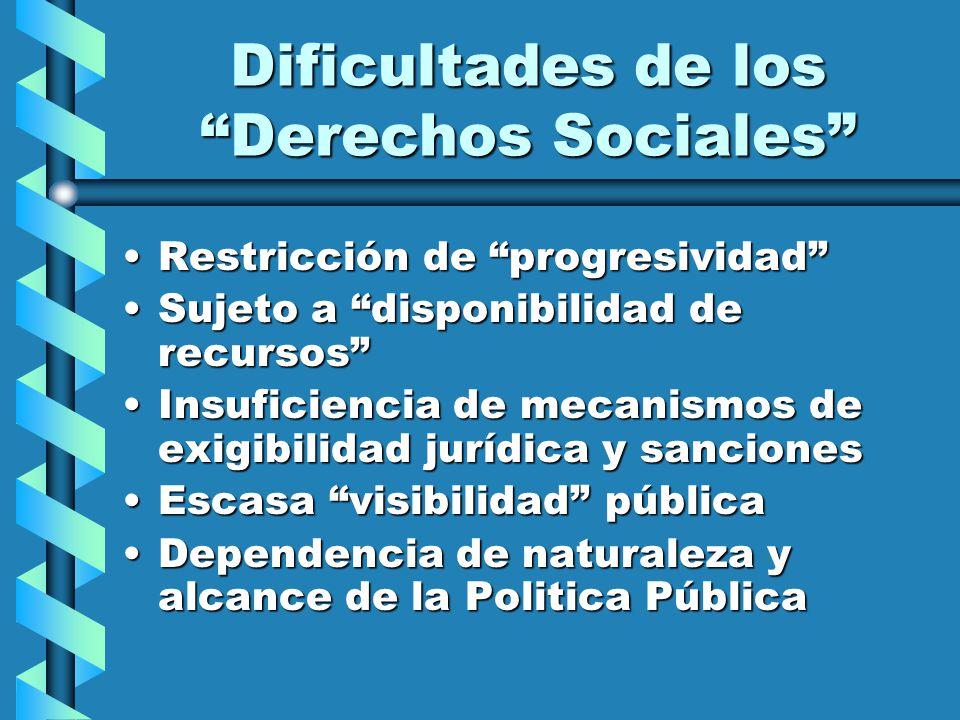 Dificultades de los Derechos Sociales Restricción de progresividadRestricción de progresividad Sujeto a disponibilidad de recursosSujeto a disponibili