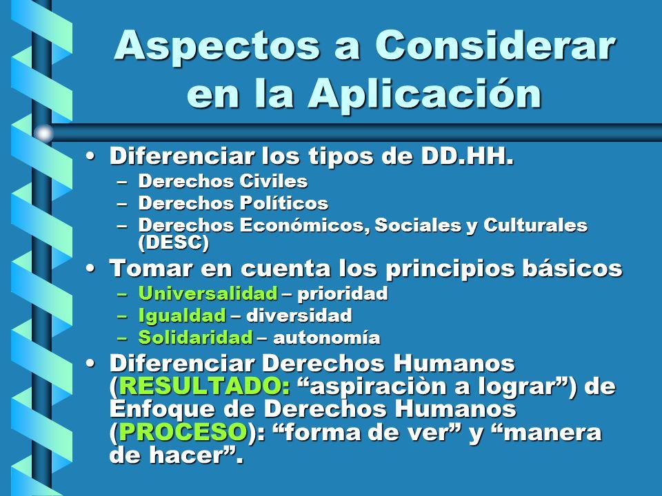 Aspectos a Considerar en la Aplicación Diferenciar los tipos de DD.HH.Diferenciar los tipos de DD.HH. –Derechos Civiles –Derechos Políticos –Derechos