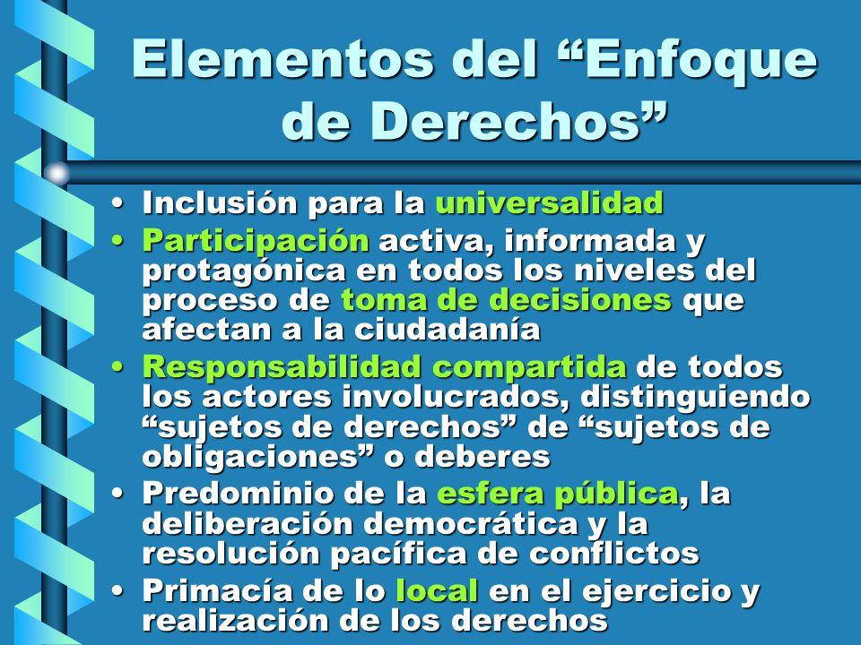 Elementos del Enfoque de Derechos Inclusión para la universalidadInclusión para la universalidad Participación activa, informada y protagónica en todo