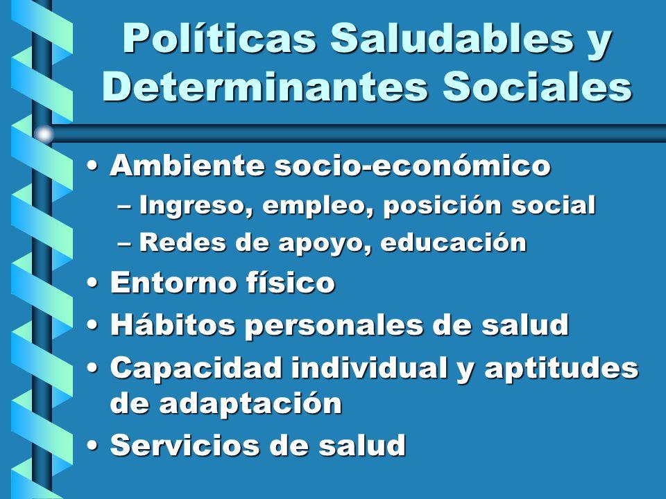 Políticas Saludables y Determinantes Sociales Ambiente socio-económicoAmbiente socio-económico –Ingreso, empleo, posición social –Redes de apoyo, educ