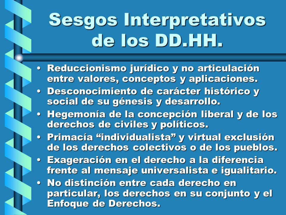Sesgos Interpretativos de los DD.HH. Reduccionismo jurídico y no articulación entre valores, conceptos y aplicaciones.Reduccionismo jurídico y no arti