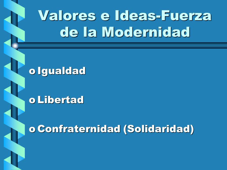Valores e Ideas-Fuerza de la Modernidad oIgualdad oLibertad oConfraternidad (Solidaridad)