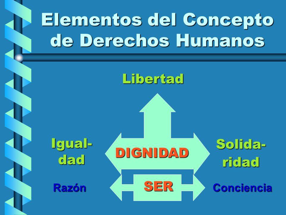 Elementos del Concepto de Derechos Humanos Libertad Igual- dad Solida- ridad DIGNIDAD ConcienciaRazón SER