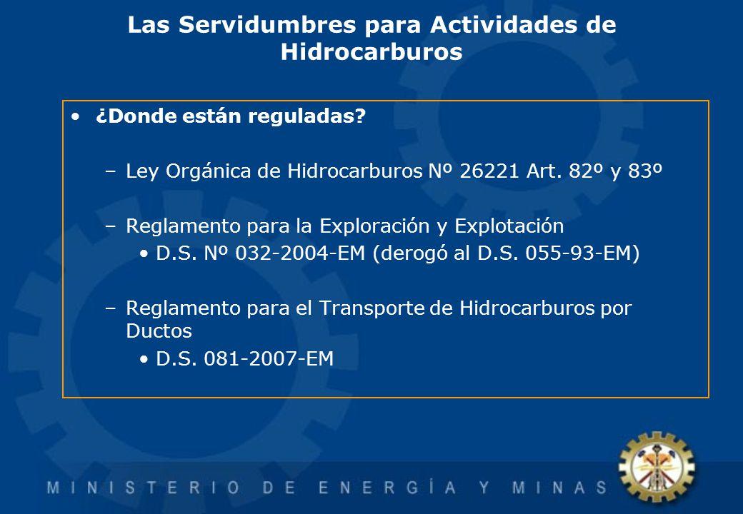 Las Servidumbres para Actividades de Hidrocarburos ¿Donde están reguladas? –Ley Orgánica de Hidrocarburos Nº 26221 Art. 82º y 83º –Reglamento para la