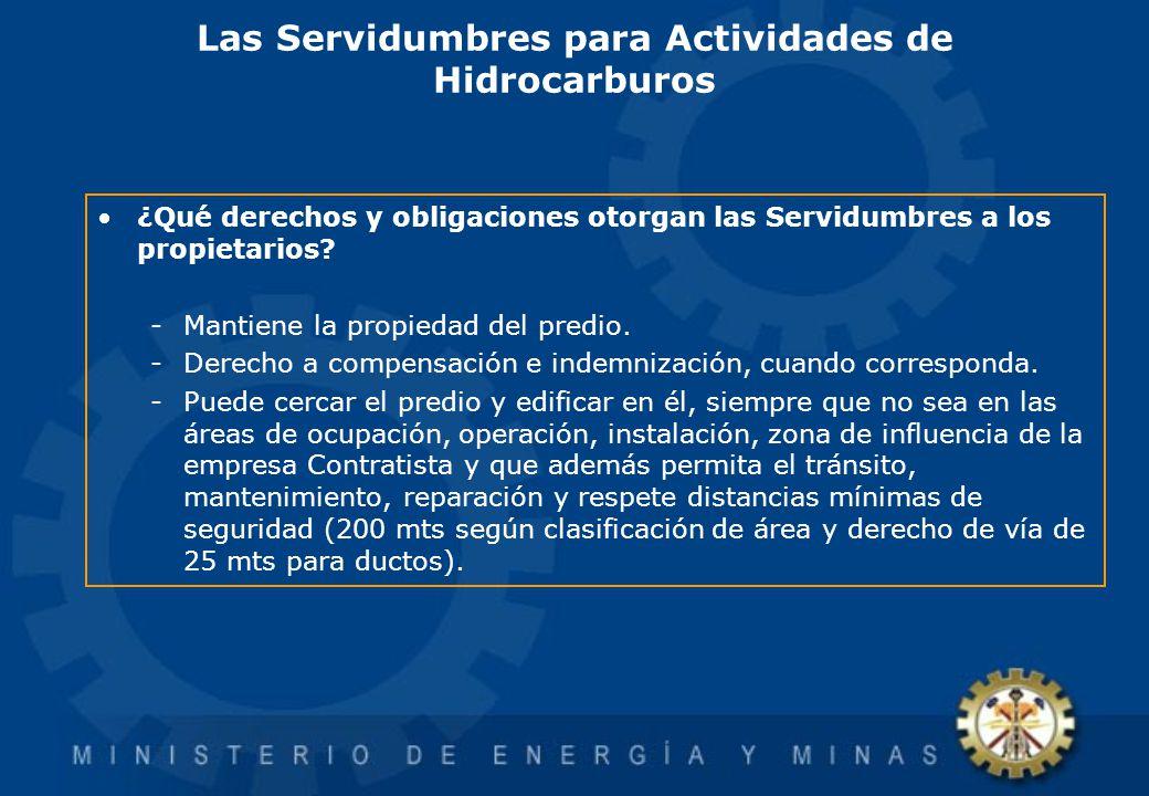 Las Servidumbres para Actividades de Hidrocarburos ¿Qué derechos y obligaciones otorgan las Servidumbres a los propietarios? -Mantiene la propiedad de