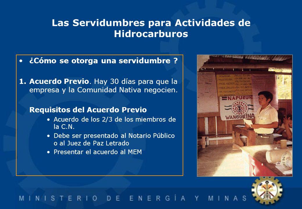 Las Servidumbres para Actividades de Hidrocarburos ¿Cómo se otorga una servidumbre ? 1.Acuerdo Previo. Hay 30 días para que la empresa y la Comunidad