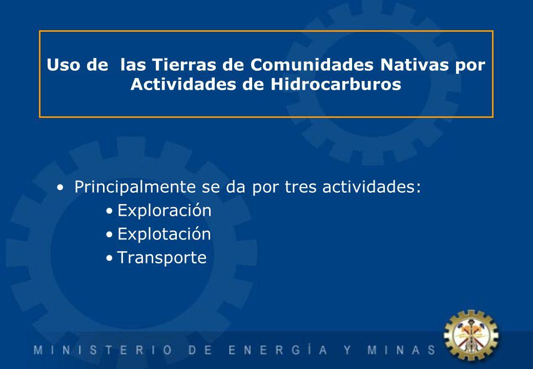 Uso de las Tierras de Comunidades Nativas por Actividades de Hidrocarburos Principalmente se da por tres actividades: Exploración Explotación Transpor