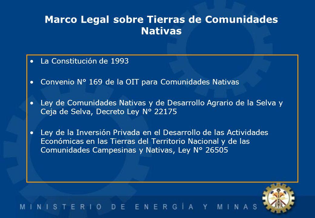 Marco Legal sobre Tierras de Comunidades Nativas La Constitución de 1993 Convenio N° 169 de la OIT para Comunidades Nativas Ley de Comunidades Nativas