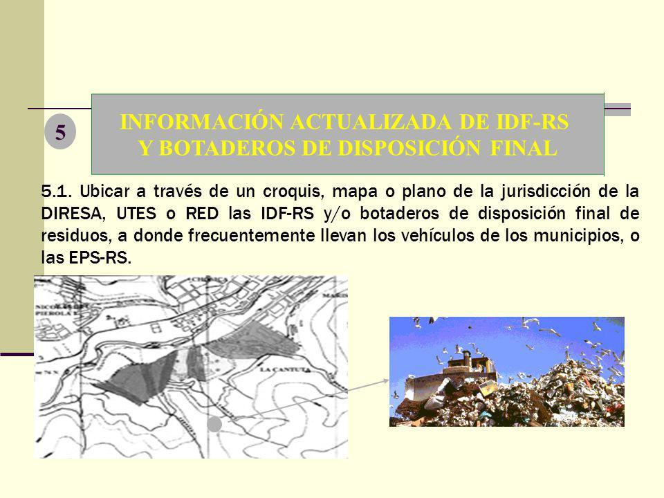 INFORMACIÓN ACTUALIZADA DE IDF-RS Y BOTADEROS DE DISPOSICIÓN FINAL 5 5.1. Ubicar a través de un croquis, mapa o plano de la jurisdicción de la DIRESA,