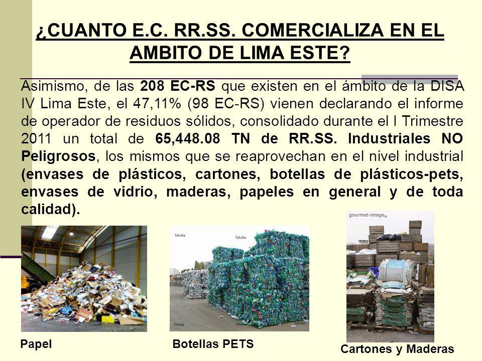 Asimismo, de las 208 EC-RS que existen en el ámbito de la DISA IV Lima Este, el 47,11% (98 EC-RS) vienen declarando el informe de operador de residuos