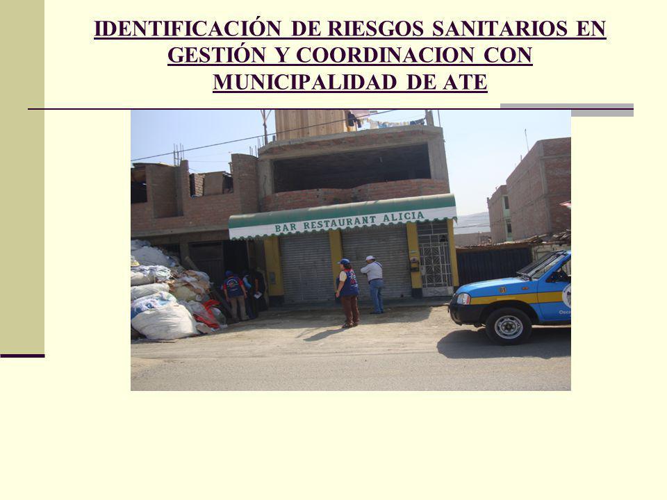 IDENTIFICACIÓN DE RIESGOS SANITARIOS EN GESTIÓN Y COORDINACION CON MUNICIPALIDAD DE ATE