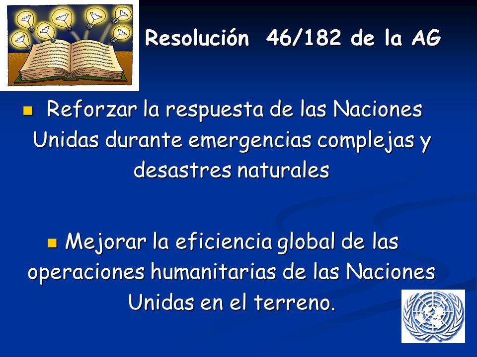 Resolución 46/182 de la AG Resolución 46/182 de la AG Reforzar la respuesta de las Naciones Unidas durante emergencias complejas y desastres naturales