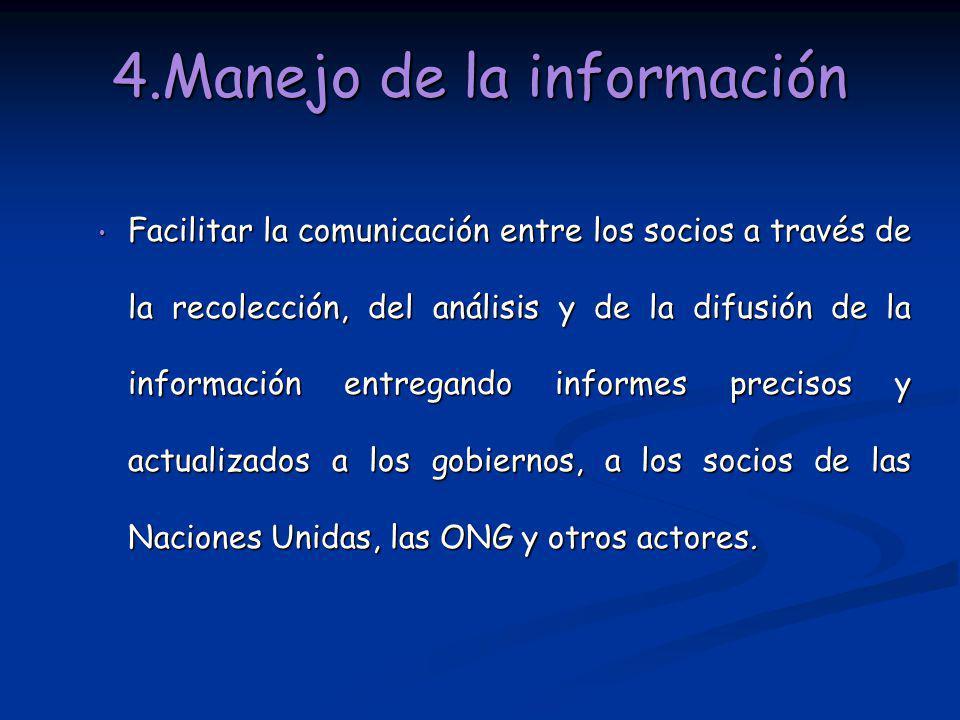 4.Manejo de la información Facilitar la comunicación entre los socios a través de la recolección, del análisis y de la difusión de la información entr