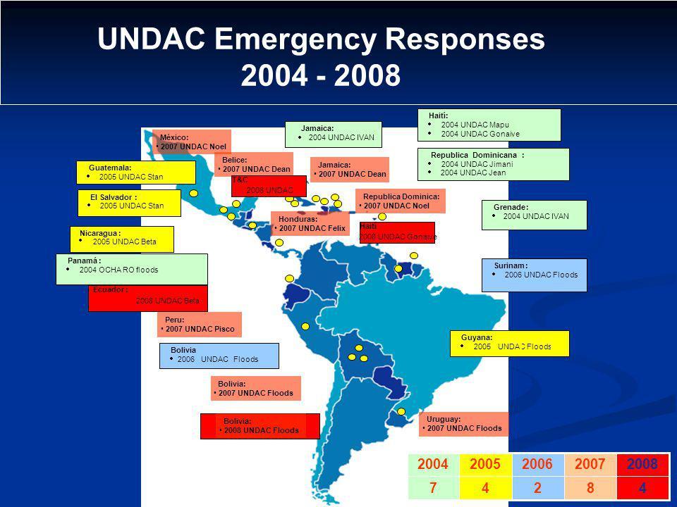 - Guyana: 2005 UNDAC Floods Guatemala: 2005 UNDAC Stan El Salvador: 2005 UNDAC Stan RepublicaDominicana: 2004 UNDAC Jimani 2004 UNDAC Jean Panamá: 200