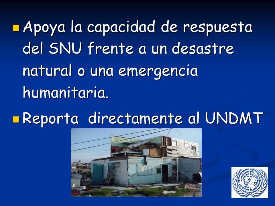 Apoya la capacidad de respuesta del SNU frente a un desastre natural o una emergencia humanitaria. Apoya la capacidad de respuesta del SNU frente a un