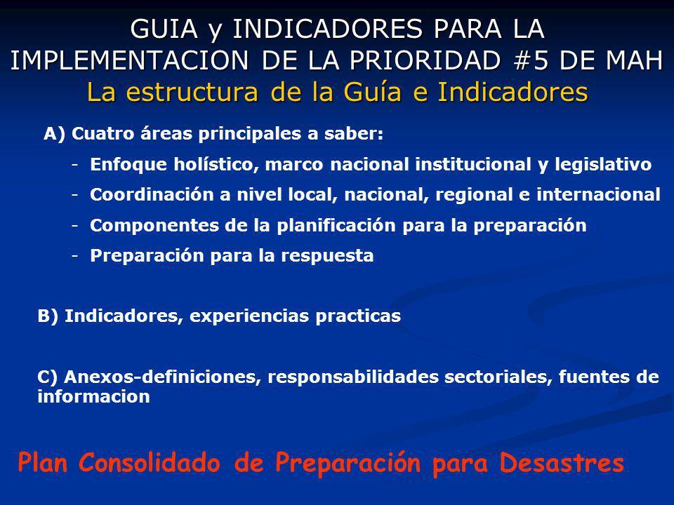 GUIA y INDICADORES PARA LA IMPLEMENTACION DE LA PRIORIDAD #5 DE MAH La estructura de la Guía e Indicadores A) Cuatro áreas principales a saber: - Enfo