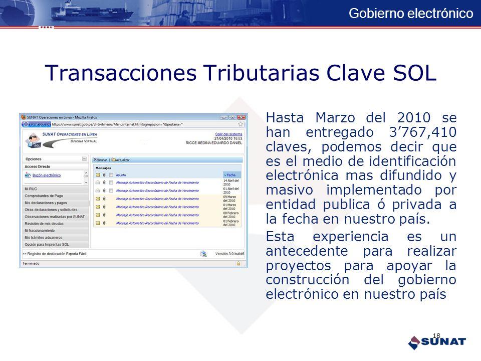 Gobierno electrónico Transacciones Tributarias Clave SOL La clave SOL permite a los contribuyentes realizar transacciones electrónicas seguras. Como: