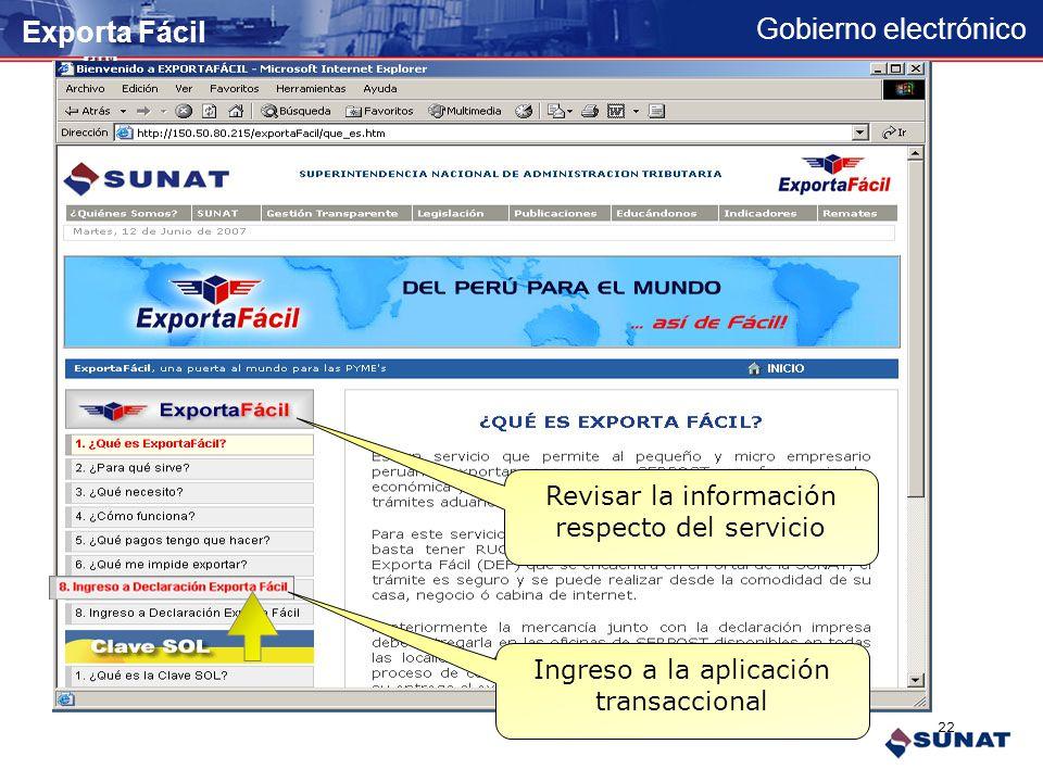 Gobierno electrónico Ingreso mediante banner Publicitario Exporta Fácil 21