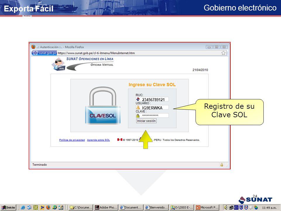 Gobierno electrónico Exporta Fácil 23