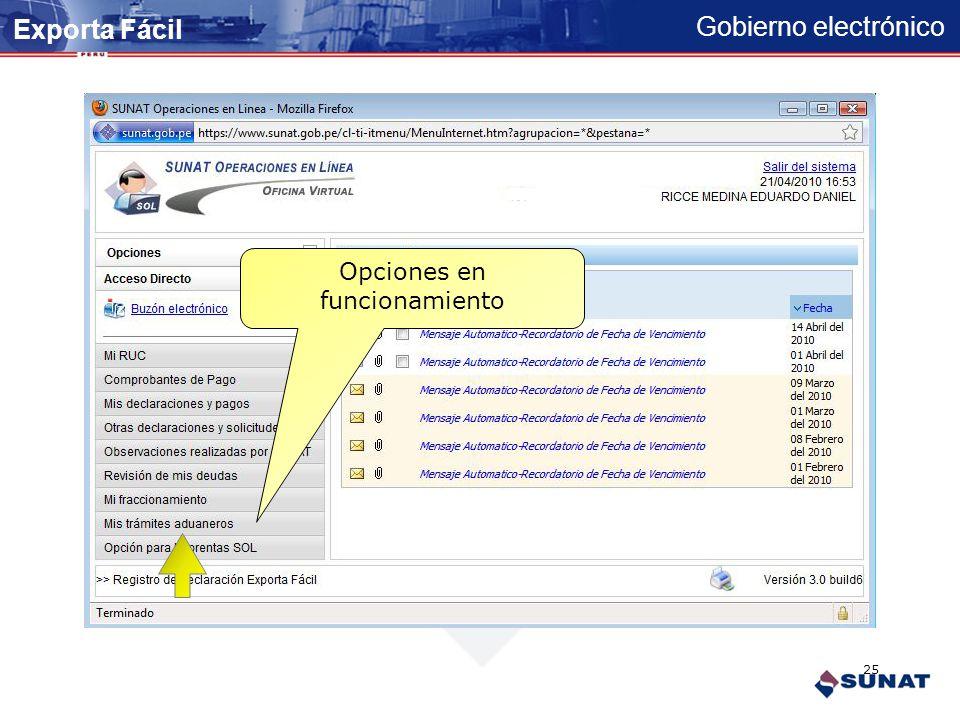 Gobierno electrónico 23456789121 IG9ERWKA *********** Registro de su Clave SOL Exporta Fácil 24