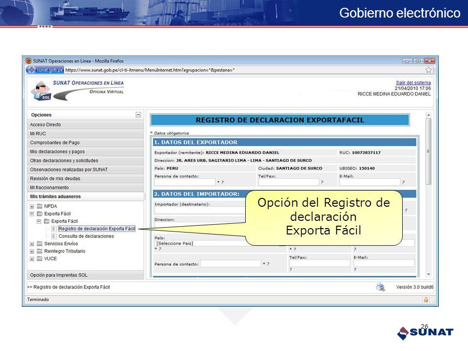 Gobierno electrónico Opciones en funcionamiento Exporta Fácil 25