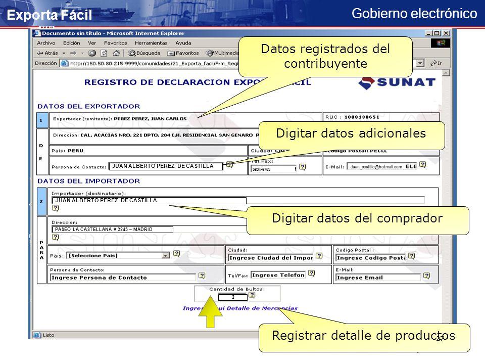 Gobierno electrónico Opción del Registro de declaración Exporta Fácil 26