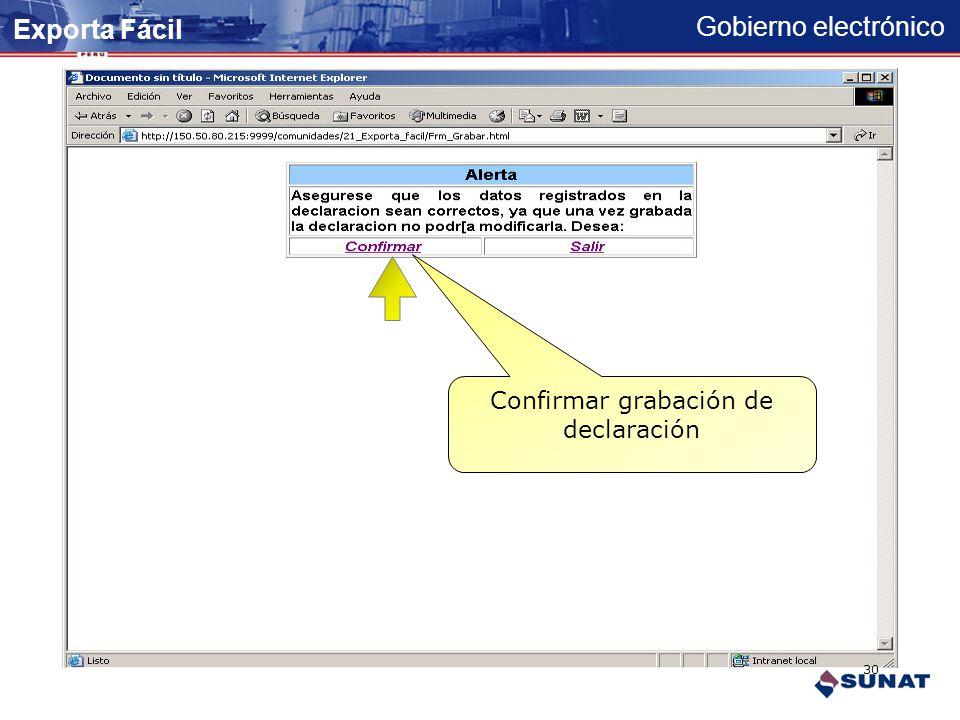 Gobierno electrónico Serie registrada Continuar registro de series... Adicionar la serie Exporta Fácil 29