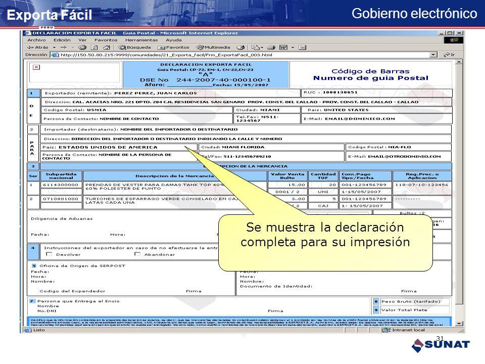 Gobierno electrónico Confirmar grabación de declaración Exporta Fácil 30