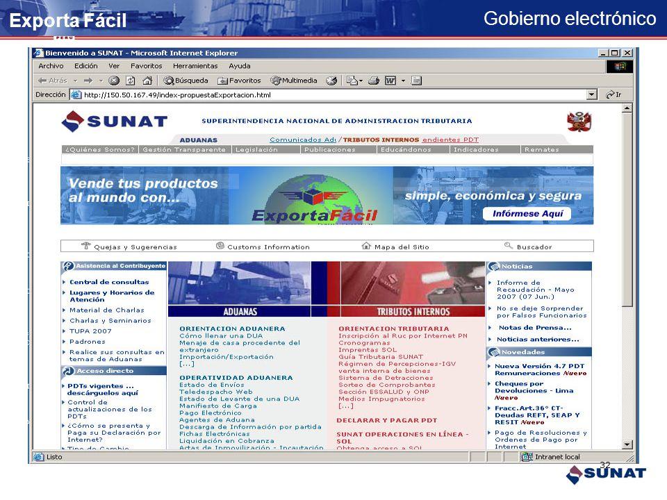 Gobierno electrónico Se muestra la declaración completa para su impresión Exporta Fácil 31