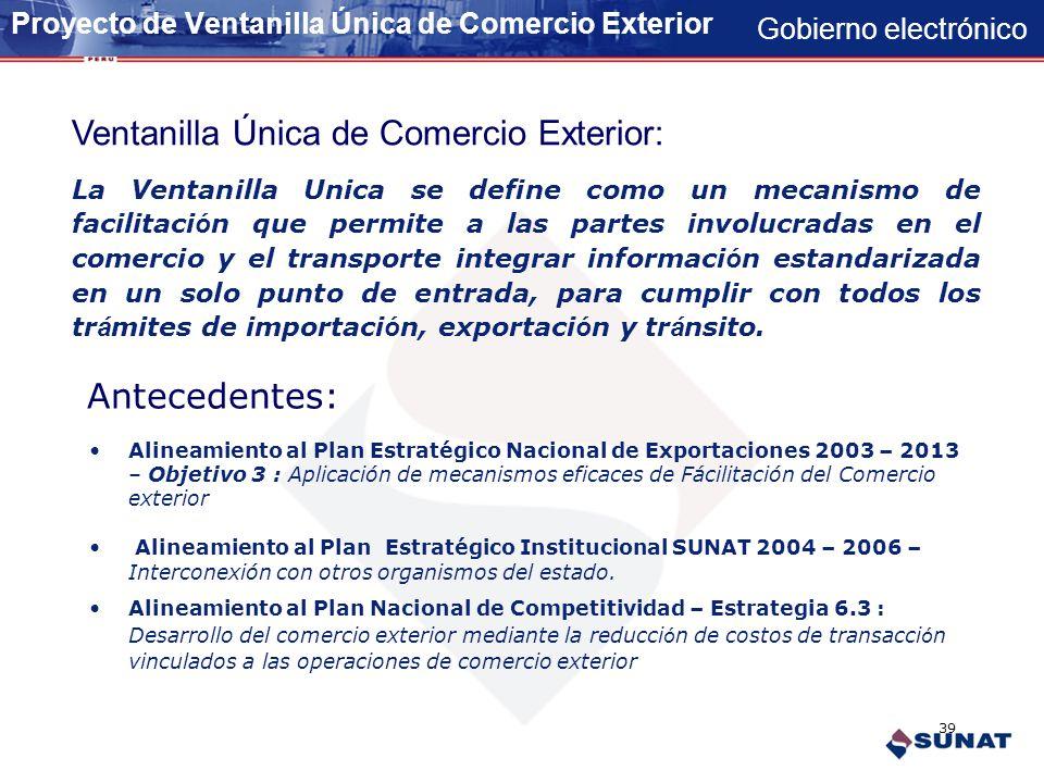 Gobierno electrónico VENTANILLA UNICA DE COMERCIO EXTERIOR 38