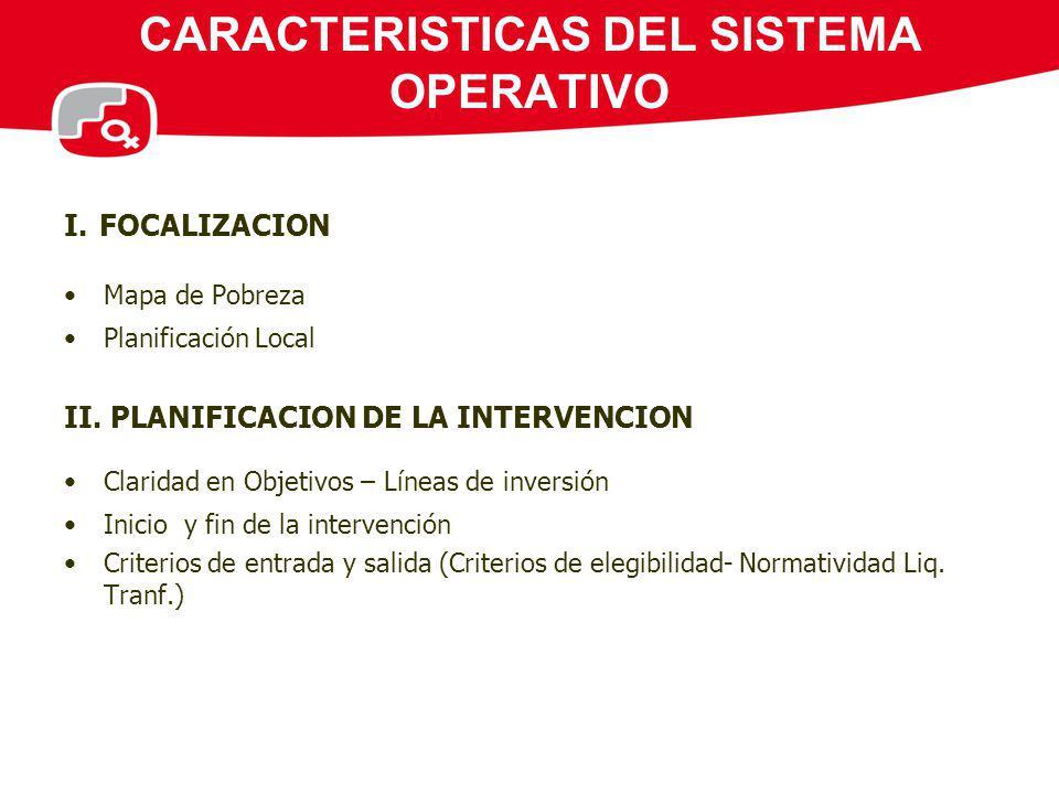 CARACTERISTICAS DEL SISTEMA OPERATIVO I. FOCALIZACION Mapa de Pobreza Planificación Local II. PLANIFICACION DE LA INTERVENCION Claridad en Objetivos –