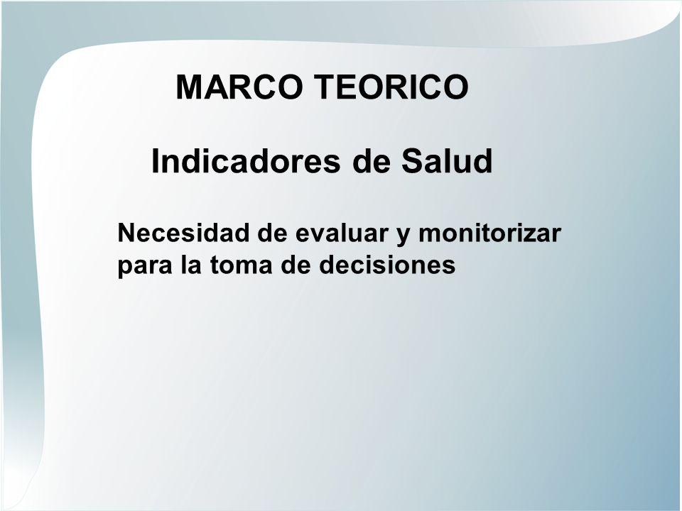 MARCO TEORICO Indicadores de Salud Necesidad de evaluar y monitorizar para la toma de decisiones