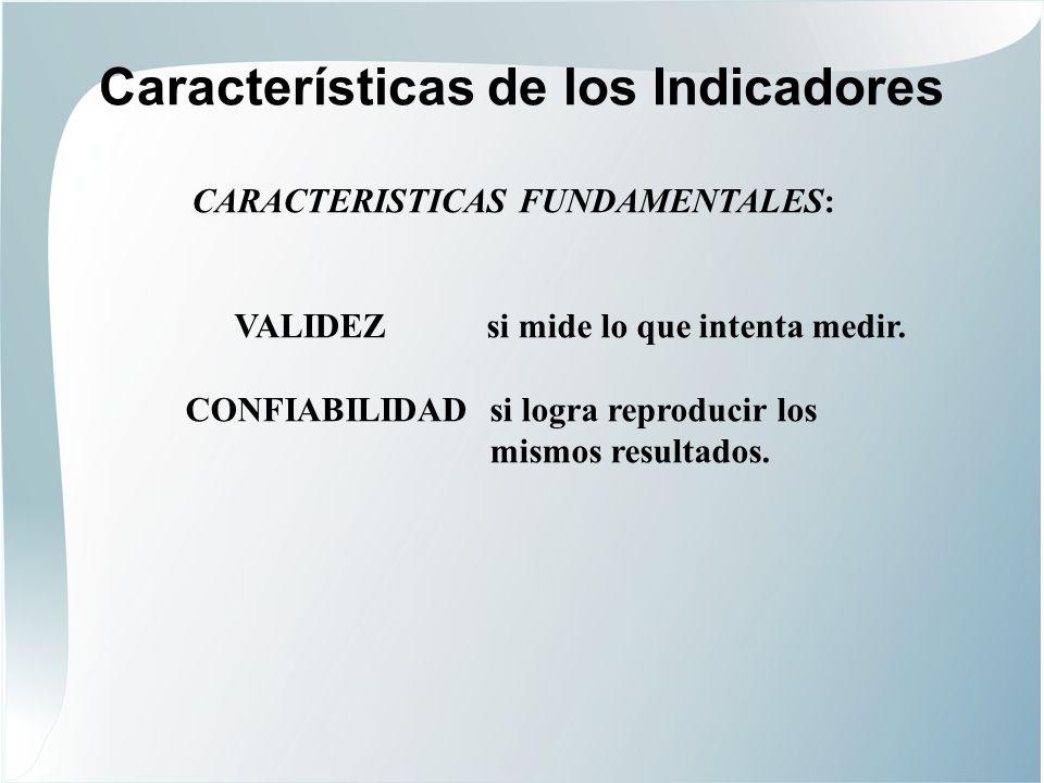 Características de los Indicadores ESPECIFICIDADSi mide solo el fenómeno.