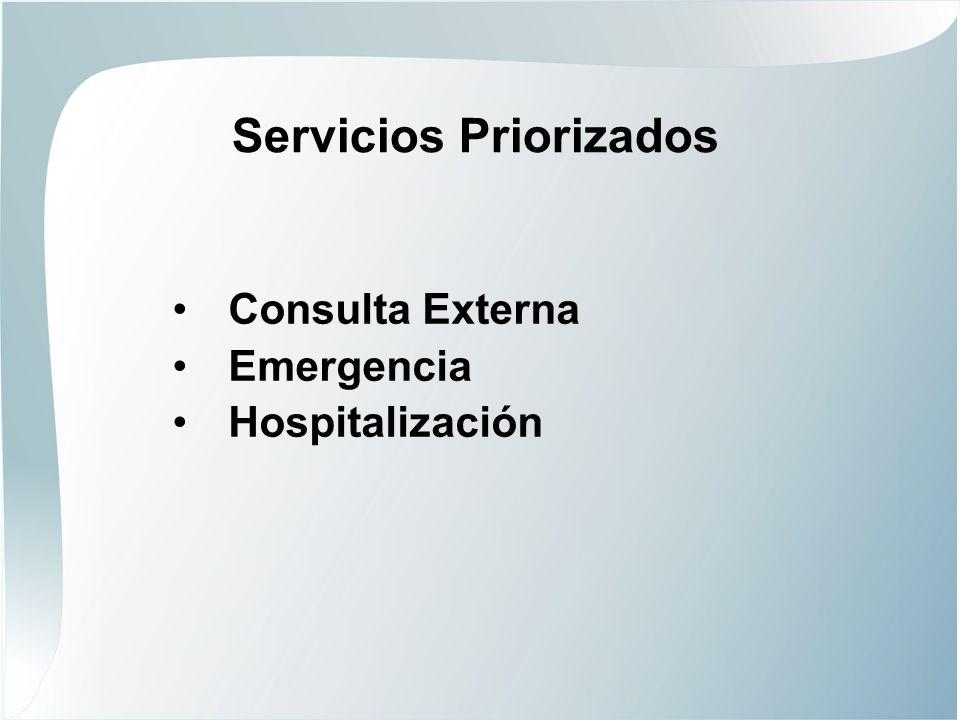 Servicios Priorizados Consulta Externa Emergencia Hospitalización