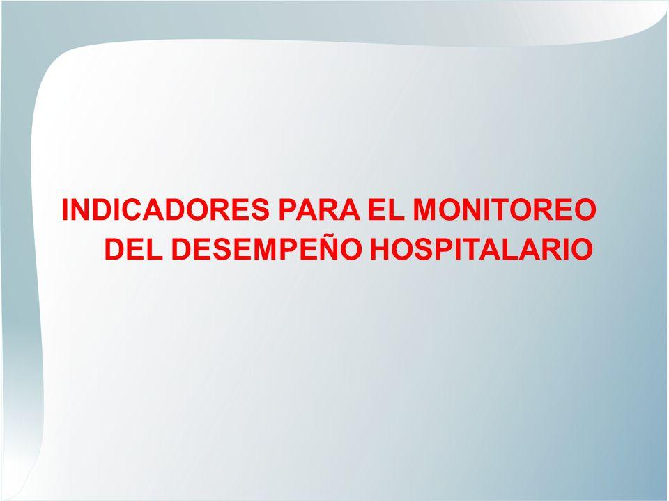 PRODUCTIVIDAD INDICADOR: RENDIMIENTO HORA MEDICO FORMULA DE CALCULOESTANDAR Número de atenciones Número de horas médicas efectivas Hospital I 5.0 Hospital II 4.5 Hospital III e Instituto Especializado 4.0