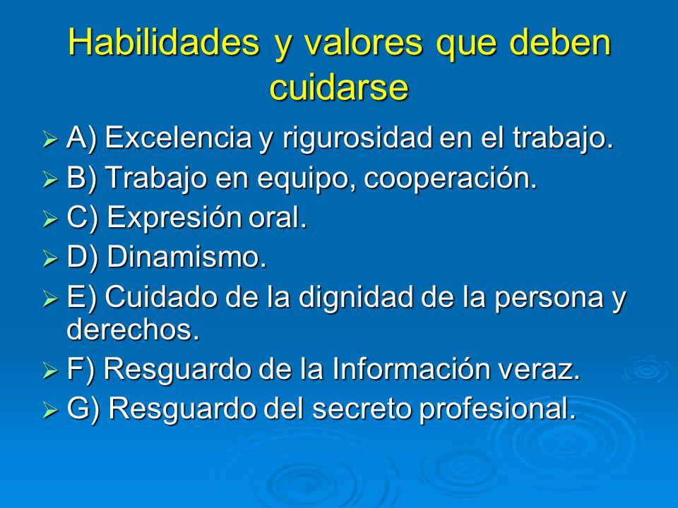 Habilidades y valores que deben cuidarse A) Excelencia y rigurosidad en el trabajo. A) Excelencia y rigurosidad en el trabajo. B) Trabajo en equipo, c