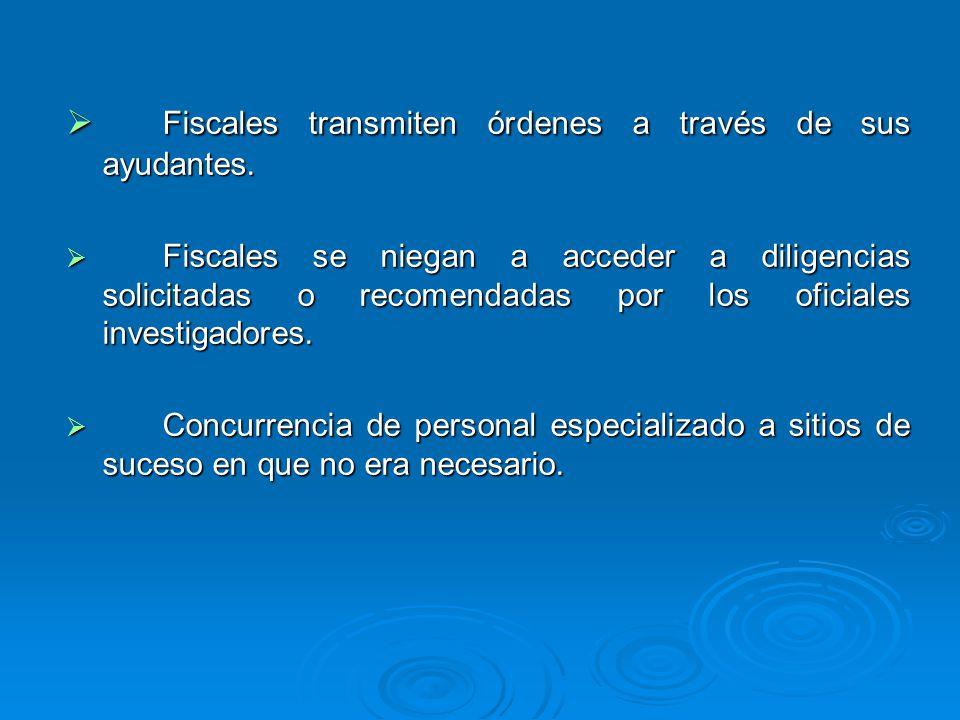 Fiscales transmiten órdenes a través de sus ayudantes. Fiscales transmiten órdenes a través de sus ayudantes. Fiscales se niegan a acceder a diligenci