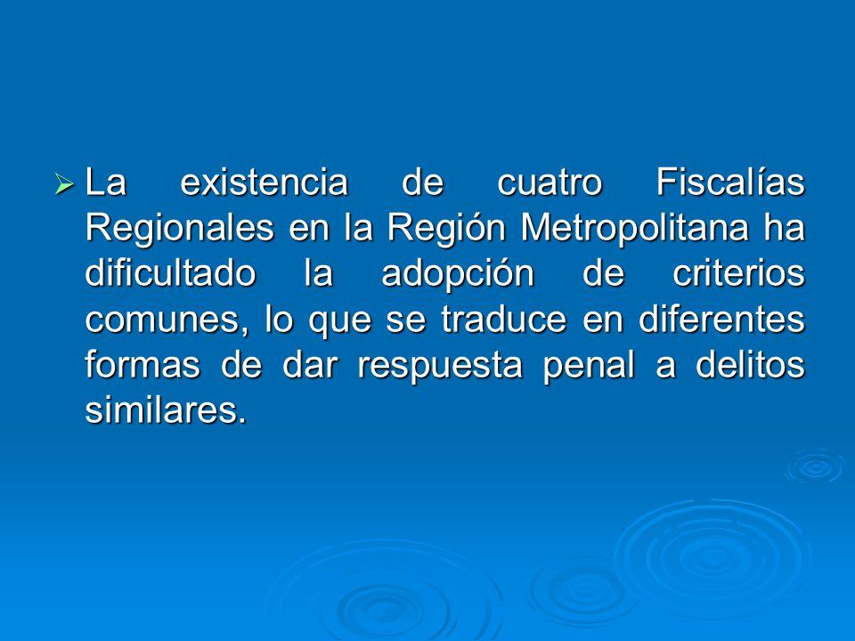 La existencia de cuatro Fiscalías Regionales en la Región Metropolitana ha dificultado la adopción de criterios comunes, lo que se traduce en diferent