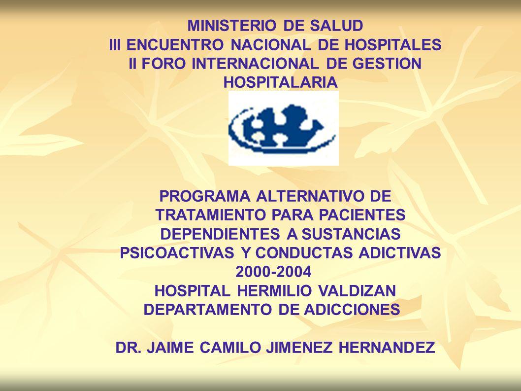 MINISTERIO DE SALUD III ENCUENTRO NACIONAL DE HOSPITALES II FORO INTERNACIONAL DE GESTION HOSPITALARIA PROGRAMA ALTERNATIVO DE TRATAMIENTO PARA PACIEN