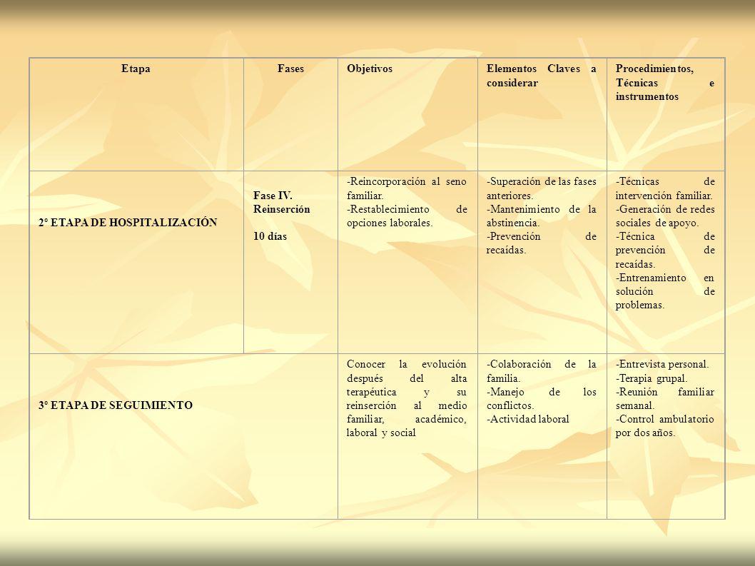 EtapaFasesObjetivosElementos Claves a considerar Procedimientos, Técnicas e instrumentos 2º ETAPA DE HOSPITALIZACIÓN Fase IV. Reinserción 10 días -Rei