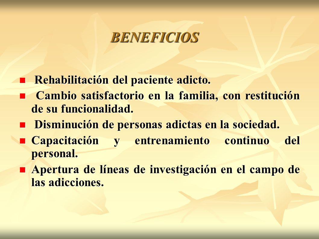 BENEFICIOS Rehabilitación del paciente adicto. Rehabilitación del paciente adicto. Cambio satisfactorio en la familia, con restitución de su funcional