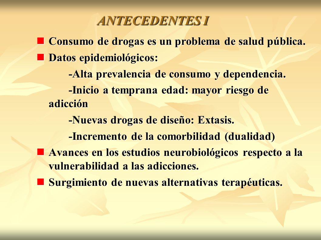ANTECEDENTES I Consumo de drogas es un problema de salud pública. Consumo de drogas es un problema de salud pública. Datos epidemiológicos: Datos epid